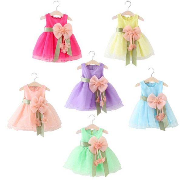 0-5Y infant dress baby girl clothing summer party Sleeveless baby dresses for girls