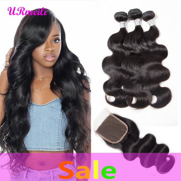 Brazilian Body Wave Virgin Hair Weave 3 Bundles With Closure Double Weft Remy Human Hair Bundles With tissage bresiliens avec Closure dhgate