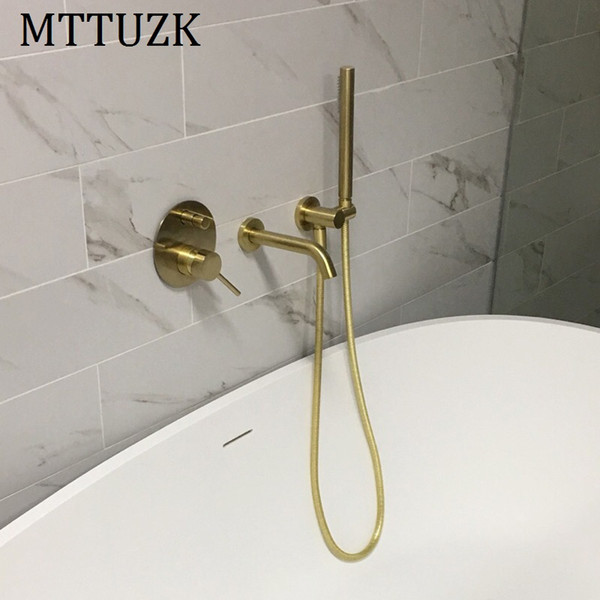 top popular MTTUZK Brass Brushed gold Bathtub faucet With handsprays Hot and Cold Mixer Faucet Set Black Wall Mounted Bath Shower 2021