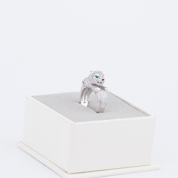 Cheetah Rings Luxury Full Diamond Animals Ring Casual Gold Silver Rose Rings Fashion Wedding Ring Fine Jewelry Lover Gift