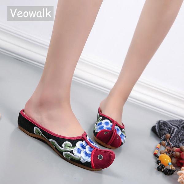 Veowalk Vintage Design Nose Toe Women's Linen Cotton Flat Slippers Ladies Summer Casual Comfort Slip on Canvas Handmade Shoes