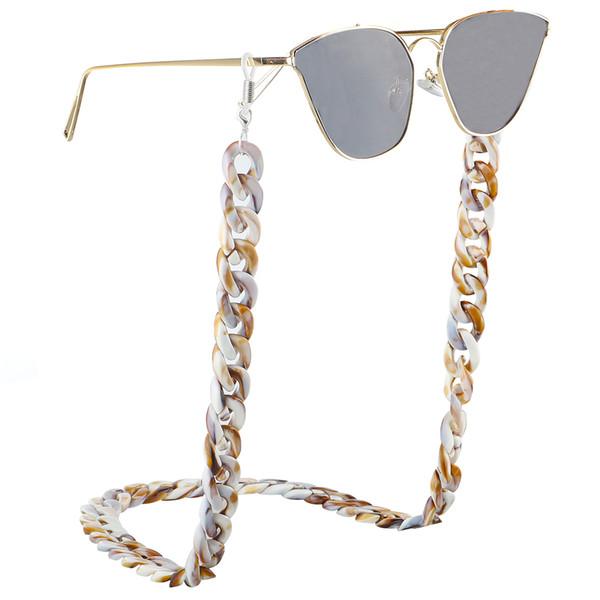 2019 vendre chaud style résine acrylique en plastique imprimé léopard lunettes chaîne simple rétro mode protection de l'environnement lunettes chaîne