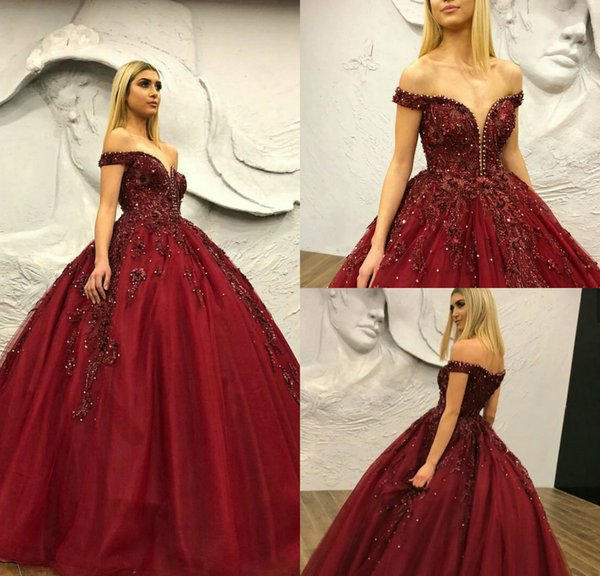 f61eb182be 2019 Gorgeous Sequined Beaded Prom Dresses Off The Shoulder Sweep Train  Burgundy Ball Gown Evening Dress
