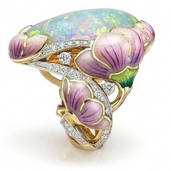 10pcs Elegant Floral Rings Fuchsia Lotus Enamel Oval Cut Fire Opal Jewelry Birthday Bridal Wedding Party Band Ring for Women Bride Size 6-10