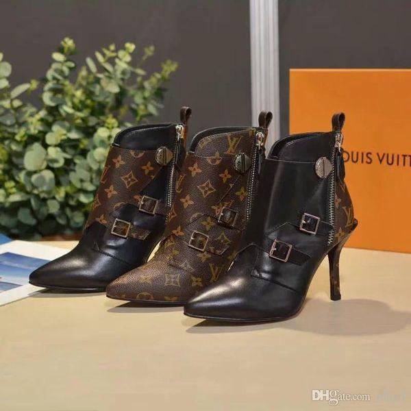 Hot Original Canvas Over-the-knee Boot Stivali da equitazione da donna di marca Designer di lusso Scarpe da donna Stivali alti con tacchi da donna Grandi dimensioni
