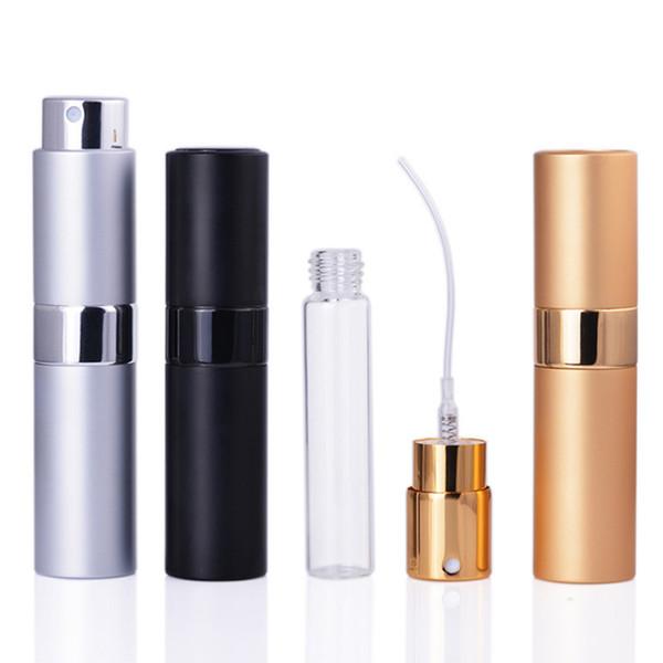 8ML portátil Mini Frasco de perfume do metal alumínio Cosmetic spray Garrafa de viagem Perfume Sub-garrafa revestimento de vidro