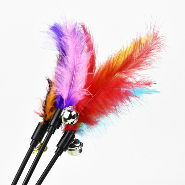 top popular Hot Sale Cat Toys Make A Cat Stick Feather With Small Bell Natural Like Birds Random Color Black Pole 2021