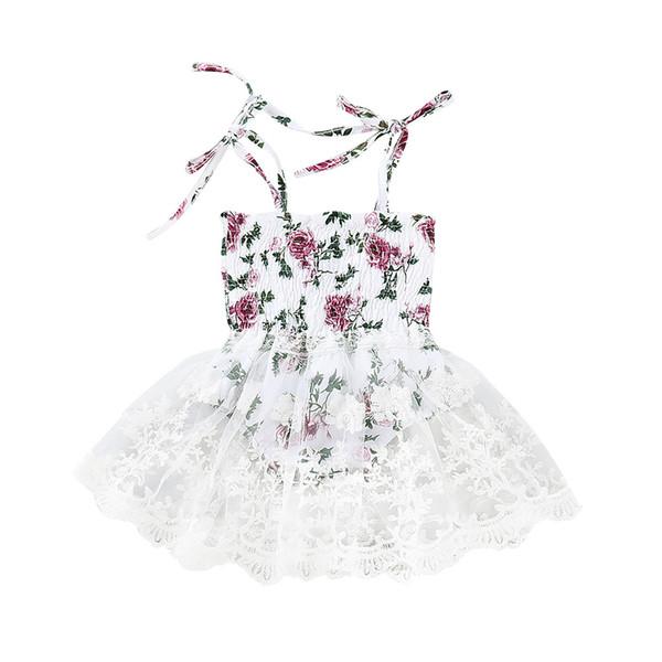 Infant Baby Girl Sleeveless Vest Floral Print Jumpsuit Romper Dress Lace Dresses Sundresses For Girls Baby Summer Clothes 2019