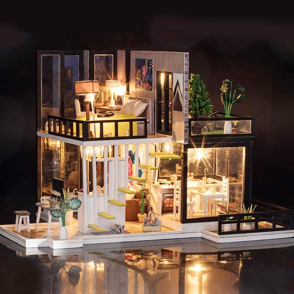 El yapımı Bebek Evi Mobilya Ile Minyatür Diy Bebek Evleri Minyatür Dollhouse Mutfak Ahşap Oyuncaklar Çocuklar Için Doğum Günü Hediyesi Y19070503