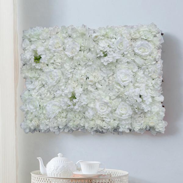 1pcs Artificial Flower Wall Wedding Background Decoration Lawn Pillar Road Lead Flower Arch Silk Rose Hydrangea White Flower C18112601