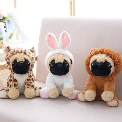 Pug brinquedos de pelúcia bonito bichos de pelúcia macia boneca cão cosplay elefante dinossauro crianças brinquedos aniversário presente de natal para crianças