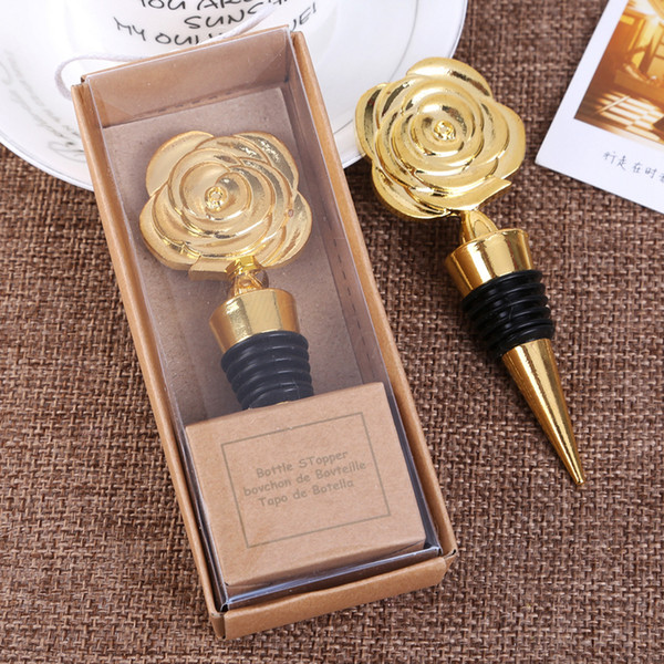 Gold Rose Wine Stoppers with Gift Boxes Rose Flowers Wine Bottle Stopper Wedding Giveaways Party Favors gift For Guests CYF3169-2