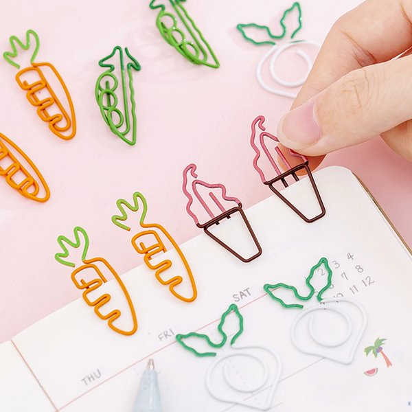 Niedliche Cartoon-Karotte-Form Büroklammer Lesezeichen Einfaches Metall Teenage Heart Beat Pin Studenten Note Clip