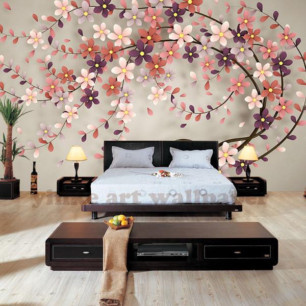 Фото обои дерево цветок северная европа стиль 3D стерео росписи обоев для гостиной обои тв фон домашнего декора