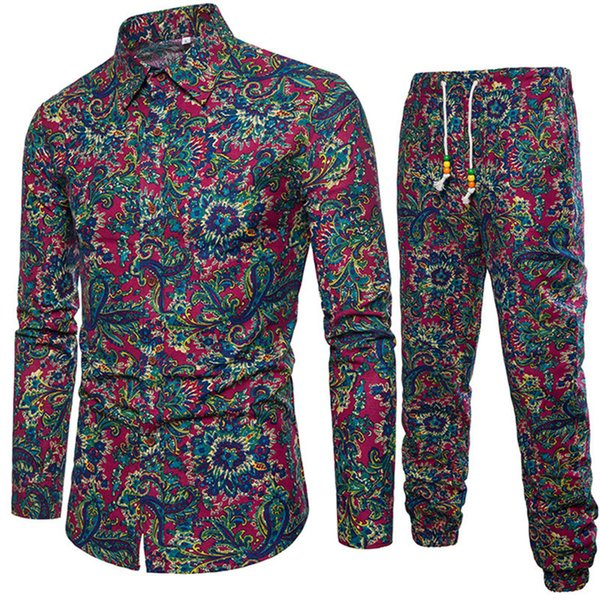 Chinese Vintage Male Vacation Set Club Boys TrackSuits Hot Sale Man Clothing 2019 Autumn New Fashion Floral Pants And Shirt Suit