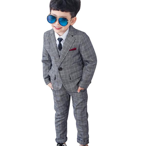 Compre 2019 Trajes De Vestir Para Niños Chicos A Cuadros Trajes De Boda Blazer Chaleco Pantalones Niños Traje De Matrimonio Gris Bebés Ropa De Niños A