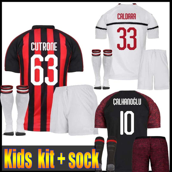 0a2961a89525 2018 AC Milan Soccer Jersey kids 18 19 HIGUAIN Home Soccer Shirt Customized   9HIGUAIN
