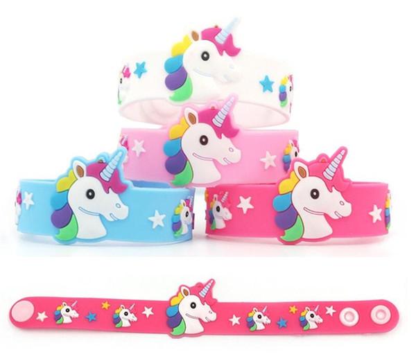 best selling 2019 Unicorn Bracelet Lovely Cartoon Wristband Fashion Kid Girls Jewelry Gift Fashion Silicone Accessory Charming novel Toy Soft PVC