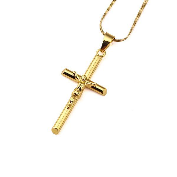 18k Gold Plated Mens Charm Jesus Cross Necklace Fashion Hip Hop Design Long 45cm Chains Punk Rock Rap Jewelry For Men