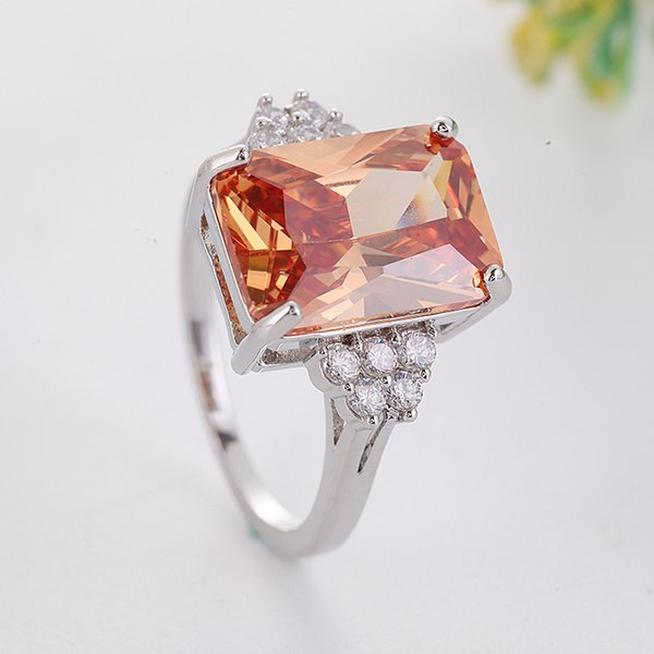 2019 Hot Sale Orange Cut Zircon Ring for Women Fashion Geometric Square Stone Ring Party Jewelry US Size 6-12 anillos L4K214