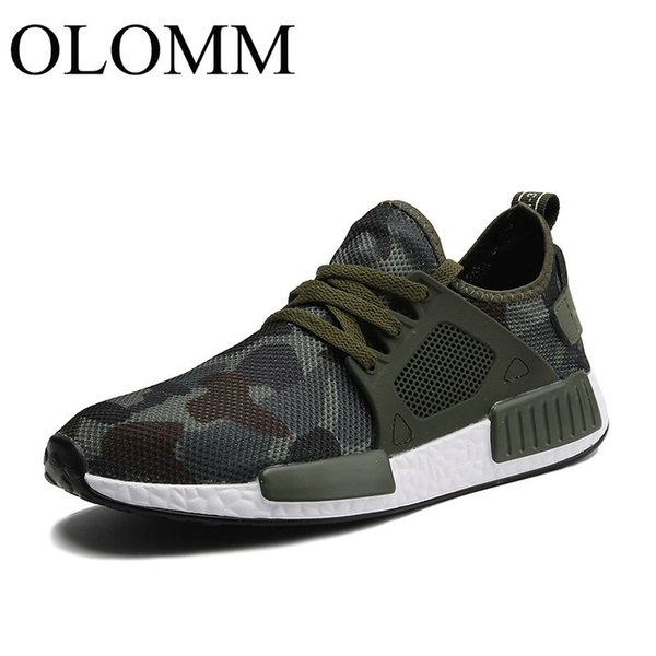 Fashion Casual Mesh Shoes Men 2019 Flat Shoes Winter Lace Up Breathable Male Footwear Camouflage Color Sneakers TD-21