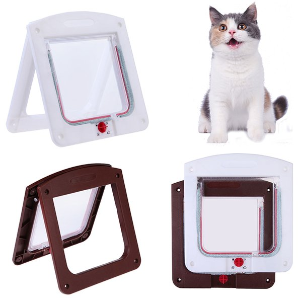 Pet Cat Puppy Dog Gates Door Lockable Safe Flap Door Pet safety products Lock Suitable for Any Wall or White Brown Colors