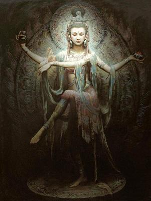 THOUSANDS HANDS GUANYIN High Quality Handpainted &HD Print Dun Hung Fairy Portrait Art Oil Painting On Canvas For Wall Decor Multi Sizes D81