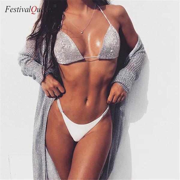 Shiny Silver Rhinestones Bra Brief Set Women Halter Bra Panty Two Piece Set Summer Beach Outfits Sexy Lingerie Underwear