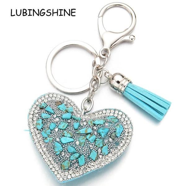 Bohemian Heart Blue Keychain