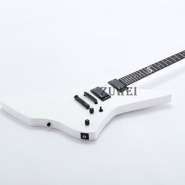 Electric White Color Guitar Ebony Fingerboard 6 Strings Special Shape Mahogany Body New Design Free Shipping