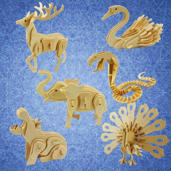 Funny 3D Jigsaw Puzzle Wooden Animal Wooden Toy Puzzles Jigsaw Horse Shape DIY Educational Toy Children Funny Gift Learning Toys