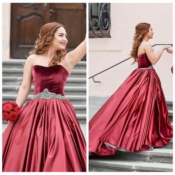 Escuro Vermelho vestido de Baile Vestidos de Casamento Querida Strass Faixa de Veludo Vestidos De Casamento Ruffles Cetim Abric Dubai Vestido De Noiva Vestidos de novia