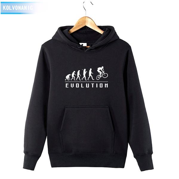 EVOLUCIÓN HUMANA CON UNA BICICLETA Imprimir Sudadera Chándal Hombre 2018 Vestido con capucha de invierno Algodón Divertido Sudadera con capucha