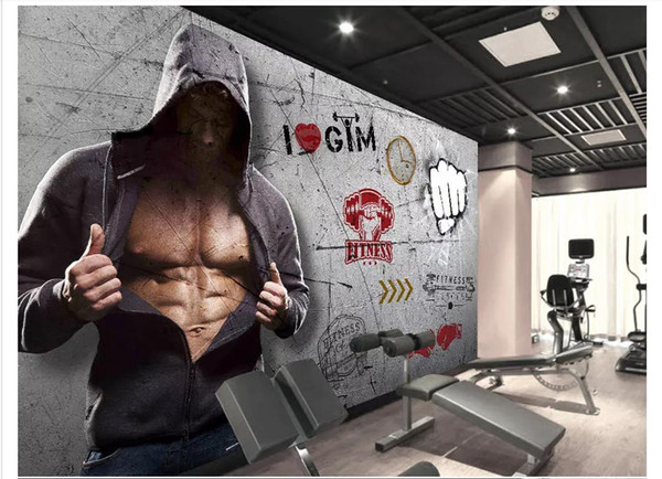Custom 3D photo mural wallpaper wall sticker Retro vintage style gym background wall decoration papel de parede