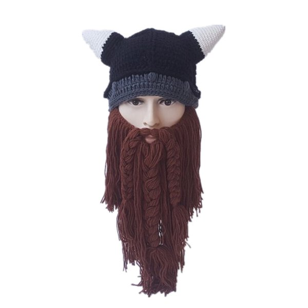 New autumn and winter cosplay horn hat big beard funny creative men and women bull wool hat foreign trade Halloween anime