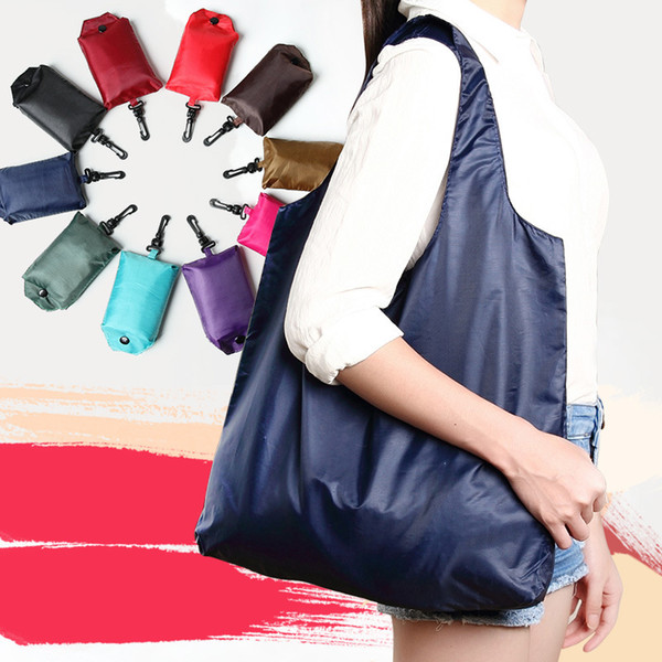 best selling 10styles Pure color Folding Portable Shopping Bag Supermarket Environmental pouch Large Capacity solid Waterproof Storage Bags 40*40 FFA1856