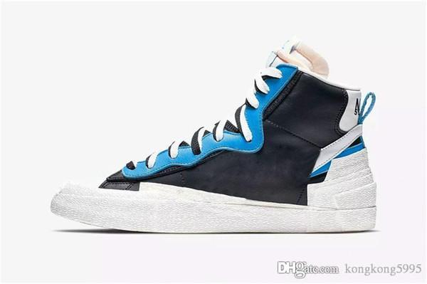 2019 год выпуска Аутентичный пиджак Mid High Sacai Белый Черный Легенда Синий Данк Снежный Пляж LD Вафля Мужская Баскетбольная Обувь BV0072-001 BV0072-700