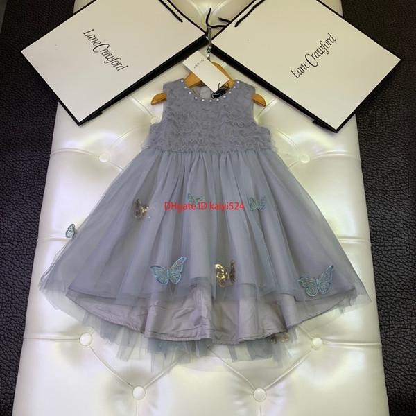 Girls dress kids designer clothing autumn sleeveless soft gauze dresses hook flower butterfly design simple fashion inner cotton party skirt