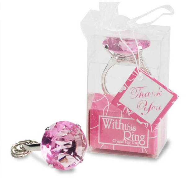 """New"""" with This Ring"""" Engagement Ring Key Chain 4 color Novelty Giant wedding Diamond Keychain For Party Favor Gift Epacket Free ship"""
