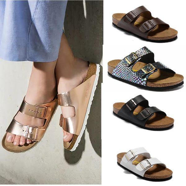 top popular Arizona 2019 New Summer Beach Cork Slipper Flip Flops Sandals Women Mixed Color Casual Slides Shoes Flat Free Shipping 34-46 2021