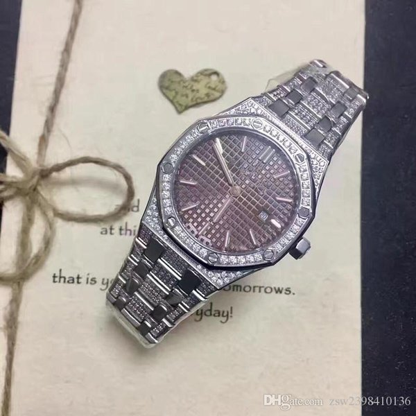 Diamond Watch.Quartz watch 33 mm for women Watch Diamond Bezel Blue Dial Diamond Steel Strap Wa