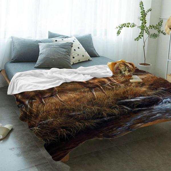 Ölgemälde Bäume und Wald von Stag River Autumn Soft Fleece Wurfdecke Fleece Super Warm Soft Throw auf Sofa / Bett