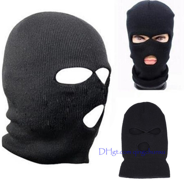 2018 Black Knit 3 Hole Ski Mask BALACLAVA Hat Face Shield Beanie Cap Snow Winter Warm 2018 summer fashion Black hood