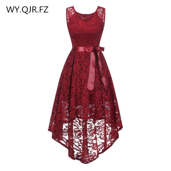 OML529#front short long back wine red Bow vest Bridesmaid Dresses wedding party dress prom gown wholesale cheap fashion