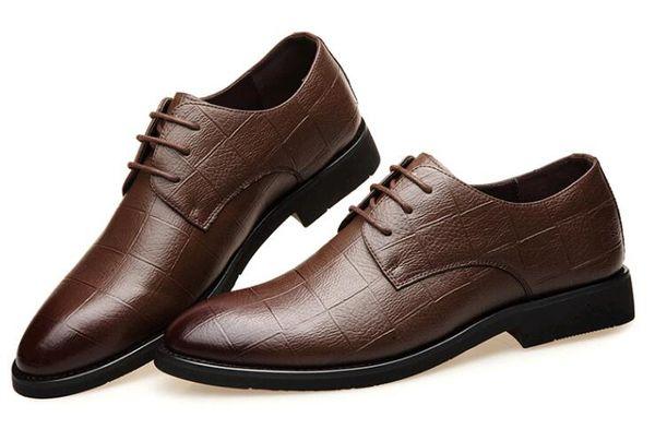 2019 fashion top brand men's Oxfords pointed toe men's Dress Shoes lace-up Business leather shoes men Party Wedding shoes SP34