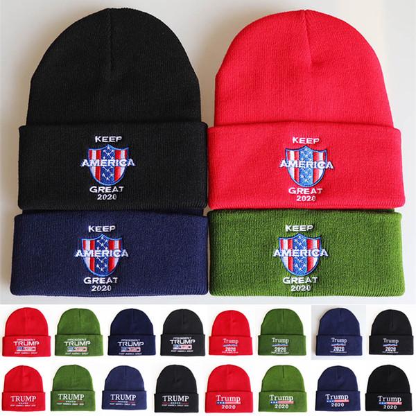20 styles de chapeaux d'atout 2020 Président Bonneterie Chapeaux Keep America Grande broderie d'hiver chaud de ski Chapeaux Outdoor tricot chapeau Bonnet DHL CJY751