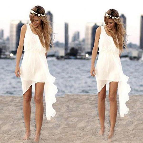 Chiffon Praia Curta Vestidos de Casamento Barato Colher Decote Sem Mangas Dama de Honra Vestidos de Verão Boho Vestidos De Noiva Tamanho Personalizado