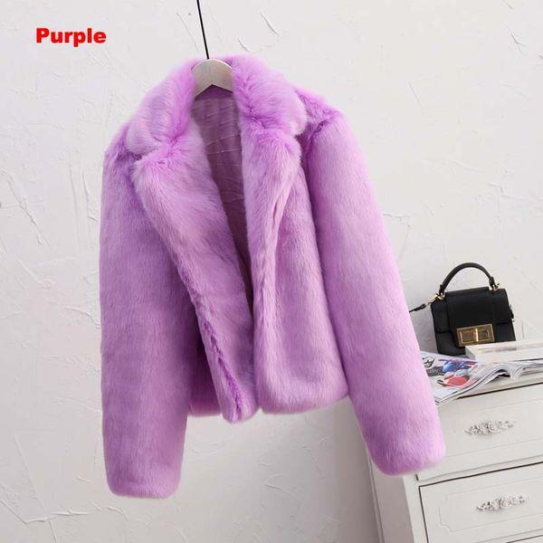 фиолетовая искусственная шуба