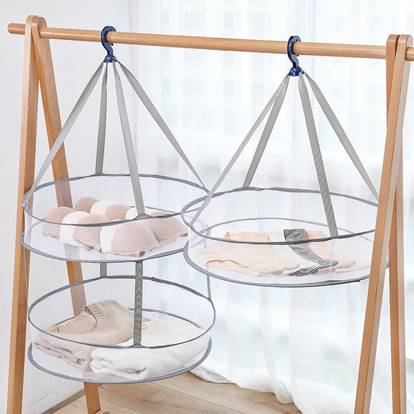 Clothes Basket Lavar secar roupas Basket Cavalete malha Socks Double-layer Net Bra Hanger