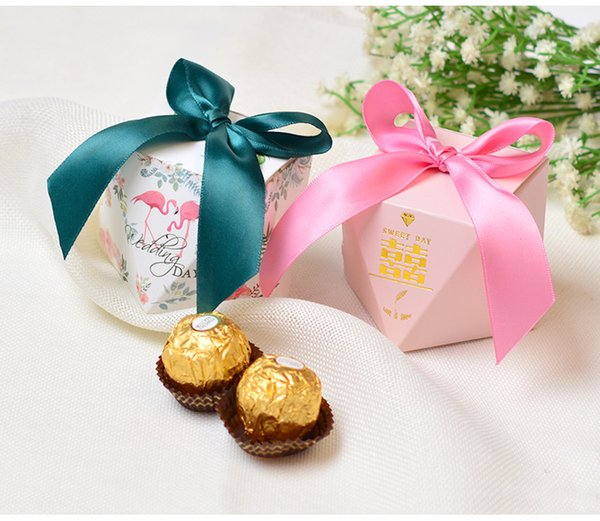 creative candy box for wedding souvenir gifts with ribbon bow paper baby shower birthday candy boxes diamond shape wedding Party Favors box